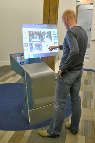 interactive kiosk display with touch screen or touch free point control